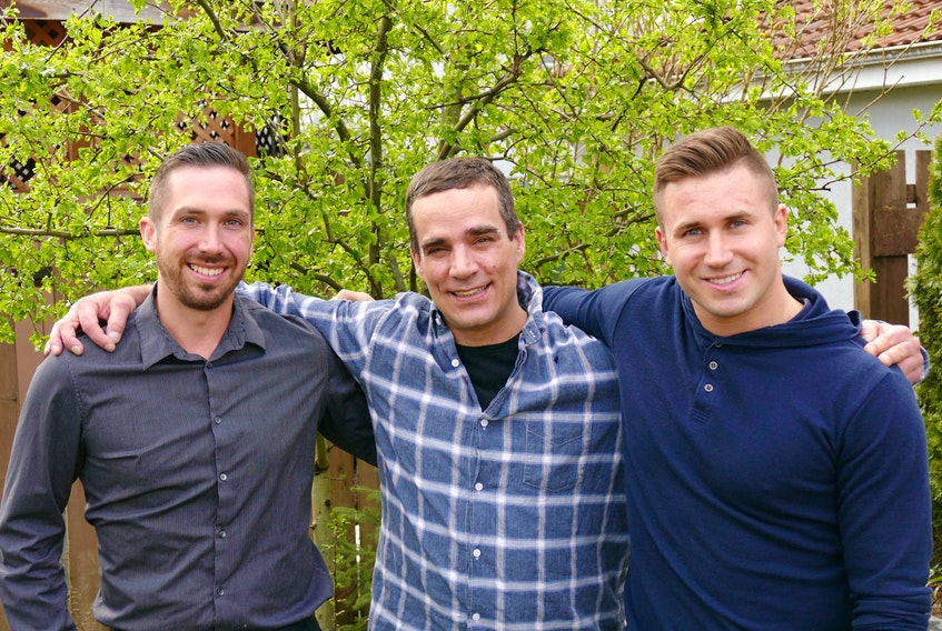 Danny MacKillop, centre, a native of Reserve Mines, is seen here at a rehabilitation centre in Vancouver, B.C., with facility staff Daniel MacEachern, left, a native of Glace Bay, and Landon Dorval.