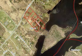 Shown above is a map outlining significant property in Coxheath — bordering Blacketts Lake — Kameron Collieries has purchased. The area outlined in red includes 6.2 acres the mining company purchased July 1, 2017 for $300,000 and have since built a subdivision called Prospect Drive, which includes nine lots in which four modular homes have already been built for mine managers. The area outlined in green includes a large house and garage on 7.7 acres adjacent to Prospect Drive that Kameron Collieries purchased July 14, 2017 for $1 million.