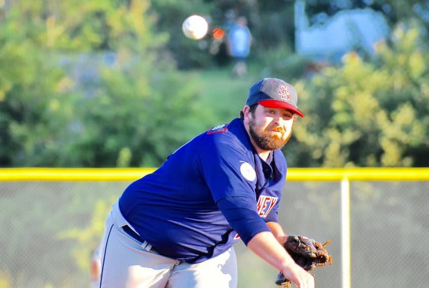 Justin Brewer of the Sydney Sooners delivers a pitch during Nova Scotia Senior Baseball League action at the Susan McEachern Memorial Ball Park in Sydney in this file photo from earlier in the 2018 season. The Sooners will continue their Nova Scotia Senior Baseball League championship series with the Dartmouth Moosehead Dry on Friday in Sydney.