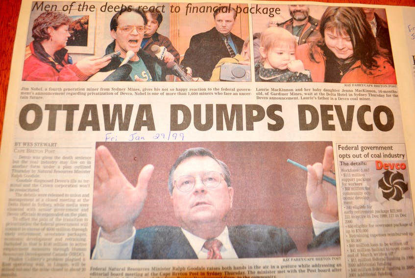 The story in the Cape Breton Post on Jan. 29, 1999, about the federal government's announcement the prior day of the privatization of the coal mining industry.