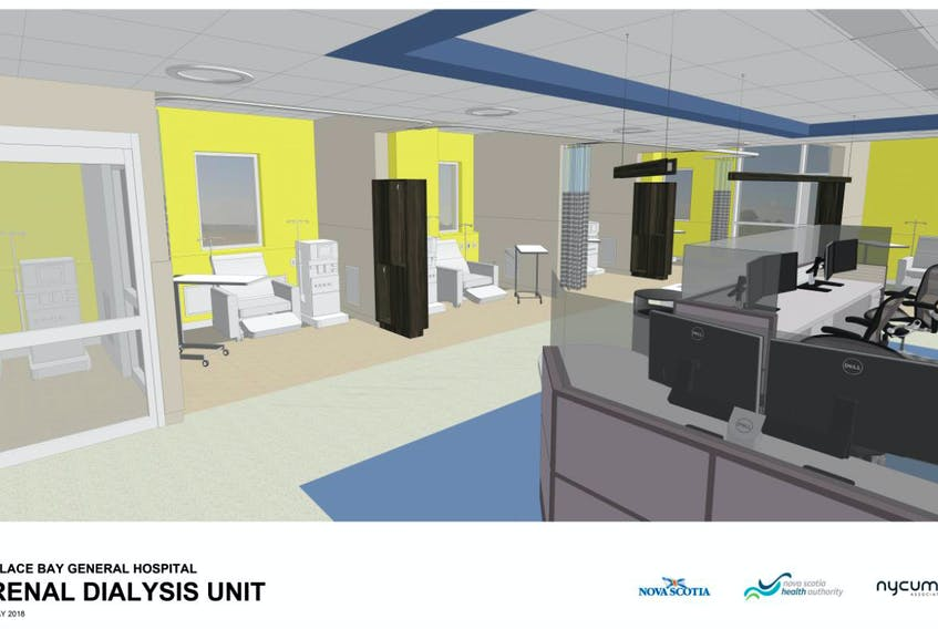 The artistic rendering shows the design of the Glace Bay Hospital's new renal dialysis unit. The construction tender for the unit, announced almost two years ago, is expected to be issued in March with work to begin in June.