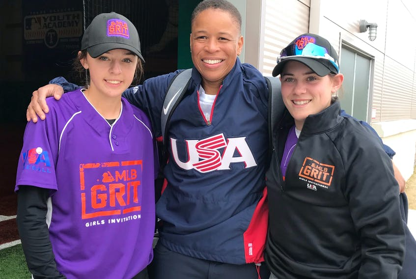 Ellie MacAulay of St. Peter's, left, is pictured with teammate Sena Catterall, right, and Tamara Holmes, MacAulay's coach and a member of United States women's national baseball team. MacAulay was one of seven Canadian female players to participate in the inaugural MLB Grit Baseball Invitational in Arlington, Texas, in March.