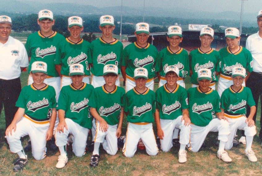 The Glace Bay Colonels, shown here in their Canada uniforms at the Little League World Series in Williamsport, Pa., won the 1994 Canadian Little League Baseball Championship and became the fourth team from the mining town to capture the national title in an eight-year period. Front row, from left: Ryan Boutilier, Tommy Sheppard, Joe O'Donnell, Daniel MacDonald, Brian Brewer, Ryan Young and Kyle Clarke. Back row, from left: manager Henry Boutilier, Sandy Sparrow, Chad Warren, Anthony Sheppard, Kirk Warren, Jeff Boutilier, Jason Snow, Adam Shibinette and coach Edison Boutilier.