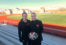 Cape Breton Capers soccer players Ciera Disipio, left, and Rachel Yerxa will play in their final Atlantic University Sport championship tournament this weekend when their team hosts the event at the Cape Breton Health Recreation Complex. Both are fifth-year players and have been with the team since 2015.