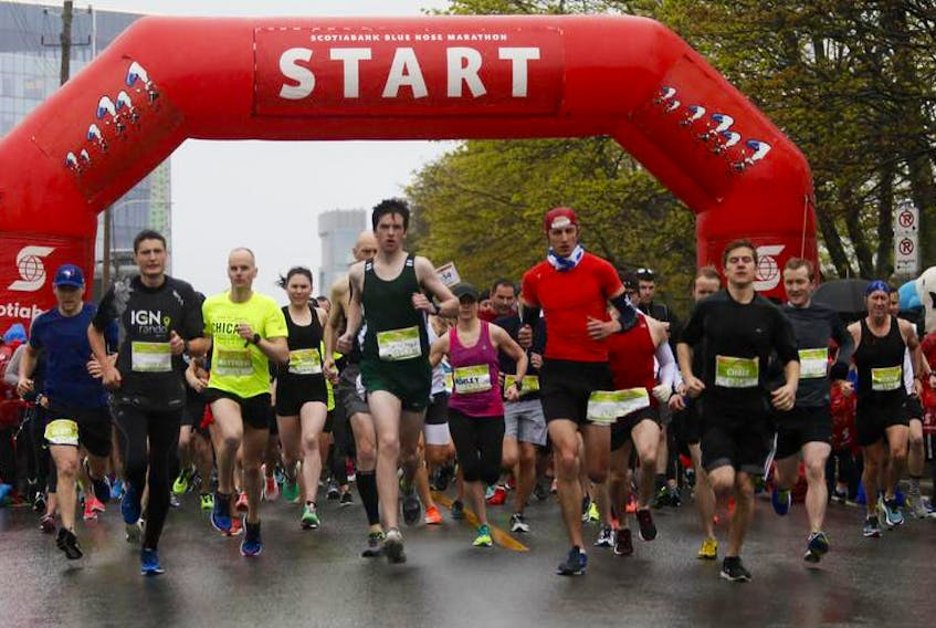 Runners take off at the start of the 10K race at last year's Scotiabank Blue Nose Marathon in Halifax.