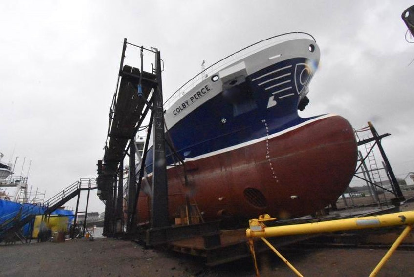 Cooke Aquaculture's vessel Colby Perce has been undergoing maintenance work at the A.F. Theriault and Son Ltd. boatyard in Meteghan River, Digby County. Cooke points to its vessel maintenance work done locally by A.F. Theriault & Son as part of its commitment to the regional economy.