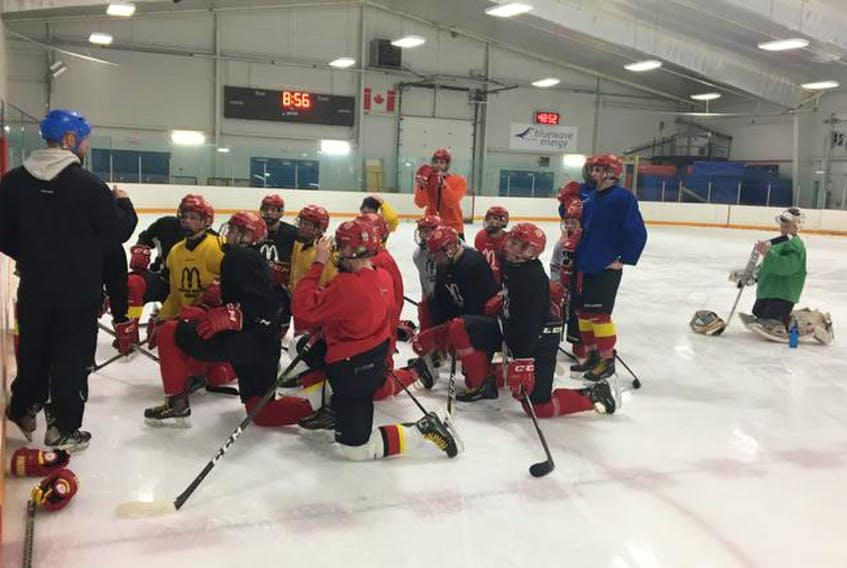 Halifax McDonald's assistant coach Craig Stevens gives instruction at a practice at the St. Margaret's Bay Centre on Wednesday. The McDonald's will compete for the Telus Cup Canadian midget hockey championship in Thunder Bay, Ont., beginning on Monday.