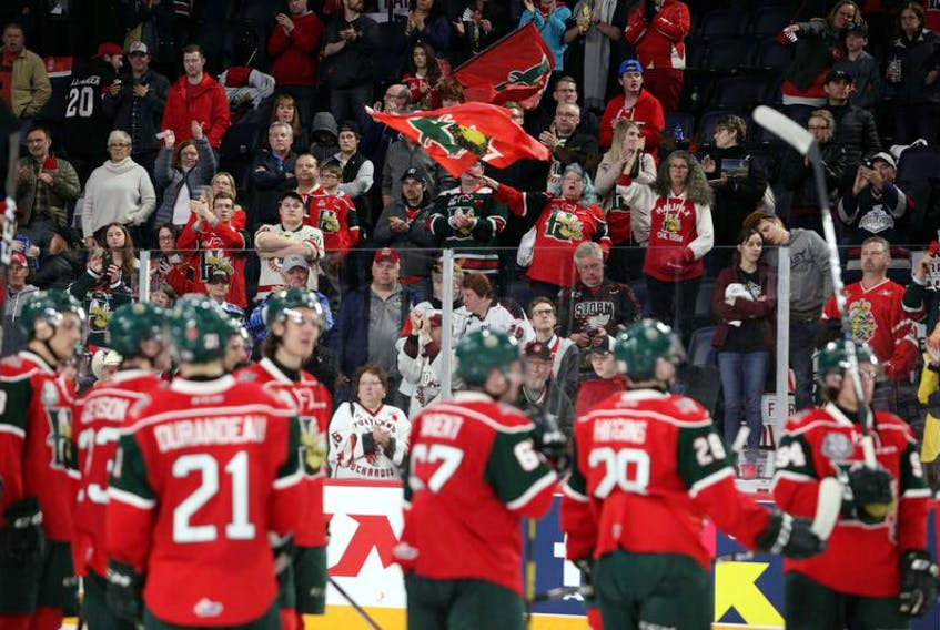 Halifax fans celebrate their Mooseheads after a crushing 4-2 defeat against the Rouyn-Norand Huskies in the Memorial Cup final Sunday at the Scotiabank Centre.