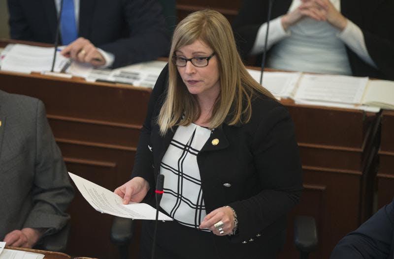 Karla MacFarlane, interim leader of the Nova Scotia Progressive Conservatives, speaks in the Nova Scotia legislature in this file photo.