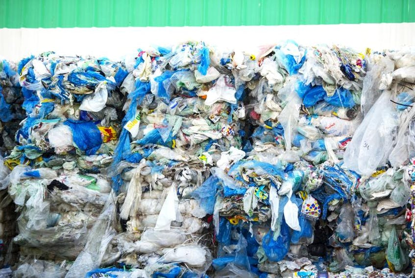Piles of plastic bags are seen outside HRM's recycling plant in Bayers Lake. Most food safety regulations are not really aligned with the industry's environmental obligations, says Sylvain Charlebois, but it appears as though consumers see the environment as a more important factor than food safety.