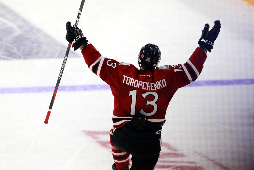 Winger Alexey Torpchenko celebrates one of his three goals during the Guelph Storm's 5-2 win over the Rouyn-Noranda Huskies at the Memorial Cup at the Scotiabank Centre on Saturday.