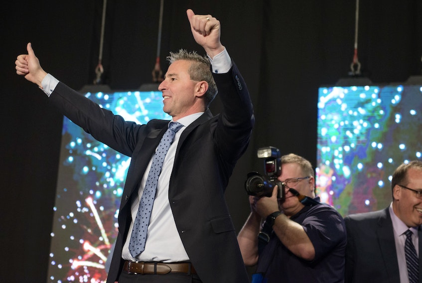 Tim Houston acknowledges the crowd at the Halifax Exhibition Centre after he was named the new leader of the Nova Scotia Progressive Conservative Party on Saturday afternoon.