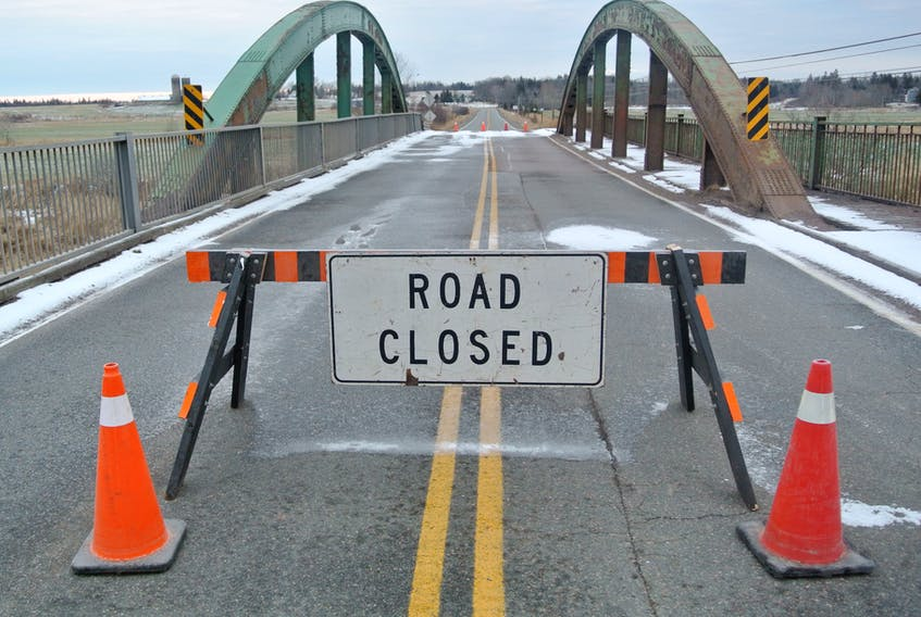 The Rainbow Bridge outside Amherst on Highway 2 was closed Dec. 8 to all traffic.