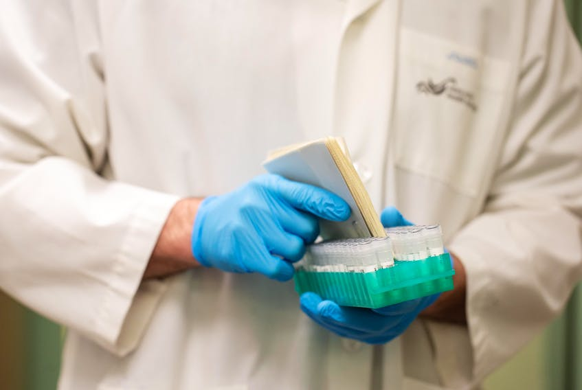 Patient samples are taken for testing at the QEII Health Sciences Centre's Microbiology Lab in Halifax.