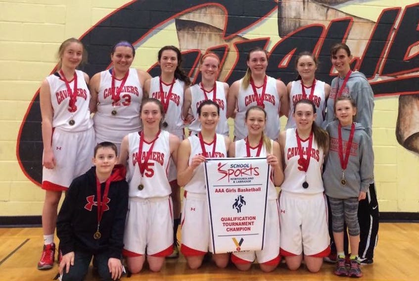 Members of the Laval High School female senior basketball team: (front, from left) Kaiden Whyte, Lauren Kelly, Mackenzie Leonard-Power, Brooklyn McCarthy, Abby Gambin, assistant coach Kendra Whyte; (back) Robyn Culleton, Emily Foley, Amber Barron, Emily O'Keefe, Hillary Neville, Raven Ralph and coach Melanie Whyte.