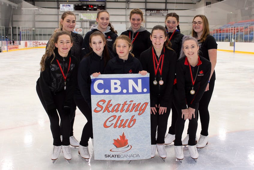 Members of the Conception Bay North Skating Club that competed at the Agnes Thistle Invitational in Conception Bay South. Back (l-r): Lindsey Porter, Danielle Mercer, Emily Dawson, Sarah Dawson, Hannah Young. Front (l-r): Julia Keefe, Hannah Green, Maggie Gosse, Laura Keefe, Toni Lynn Parsons. Missing from photo: Lexie Smith and Chloe Keefe.