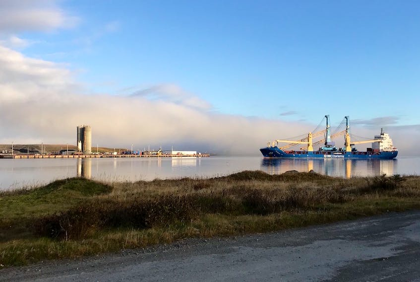 The BBC Jan arrived in Argentia last Friday to deliver the Gottwald 6407 model mobile harbour crane. — Submitted photo