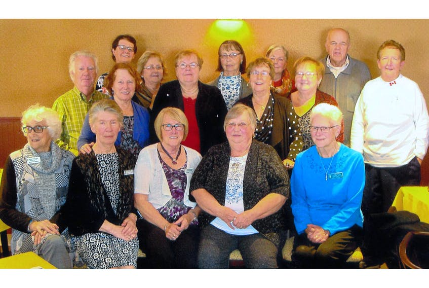 The Local International Friendship League chapter is celebrating its 15th anniversary. Front row (l-r): Marjorie Roach, Pauline Churchill, Lillian Parsons, Joyce Neil and Joyce Dawe. Second row: Dan Burke, Mary Burke, Annie Taylor, Lily Petten, Marie Taylor and president Joyce Roberts. Third row: Doug Dawe, Joyce Petten, Mae Coffey, Valerie Hodder and Lewis Roberts. Miss are first-president Joyce Lake, Marion Smith, Rita Fitzgerald, Alliston Champion, Daphne Andrews, Nell Finn, Fred Taylor, Violet Efford, Sandra Noel, Nina Bartlett and Barbara Norman. — Submitted photo