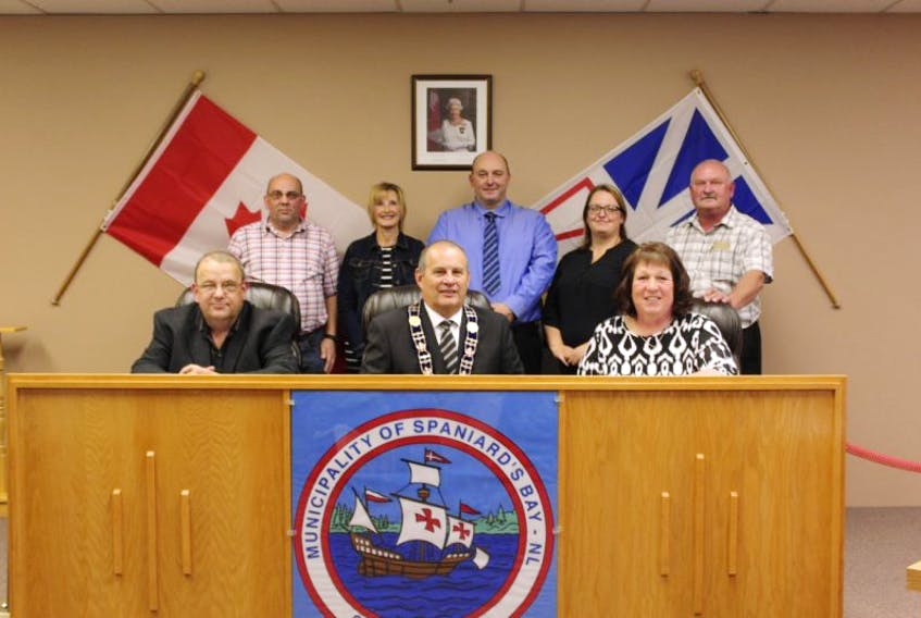 The newly elected council of Spaniard's Bay. From left to right (back) are Coun. Paul Ryan, Coun. Sherry Lundrigan, Coun. David Smith, Coun. Tracy Smith, Coun. Eric Jewer. In the front; town manager Tony Ryan, Mayor Paul Brazil, Deputy Mayor Darlene Stamp.