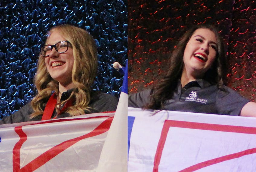 Brianna Russell, left, and Laura Keefe from Ascension Collegiate both won medals at the 2019 Skills Canada National Competition in Halifax.