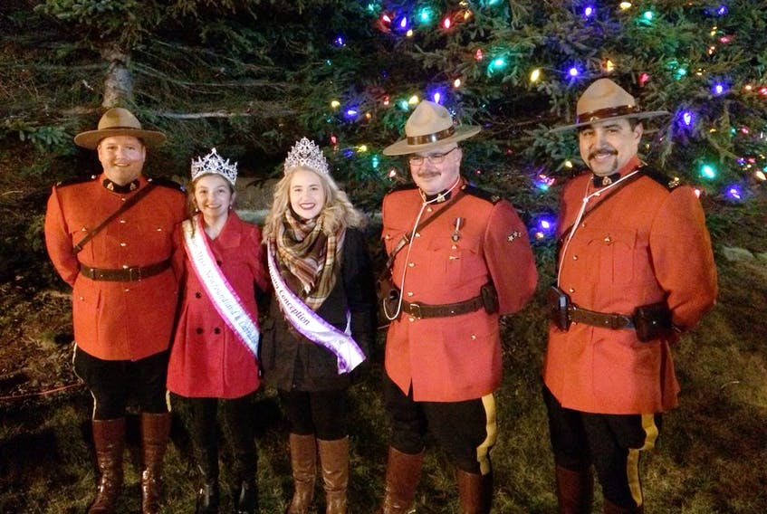Starting from the left, Const. Bryan Vaughan, Junior Miss Newfoundland and Labrador Melissa George, Miss Teen Trinity-Conception Sarah Legge, Harbour Grace RCMP Staff Sgt. Greg Hicks and Const. Mo Agha.