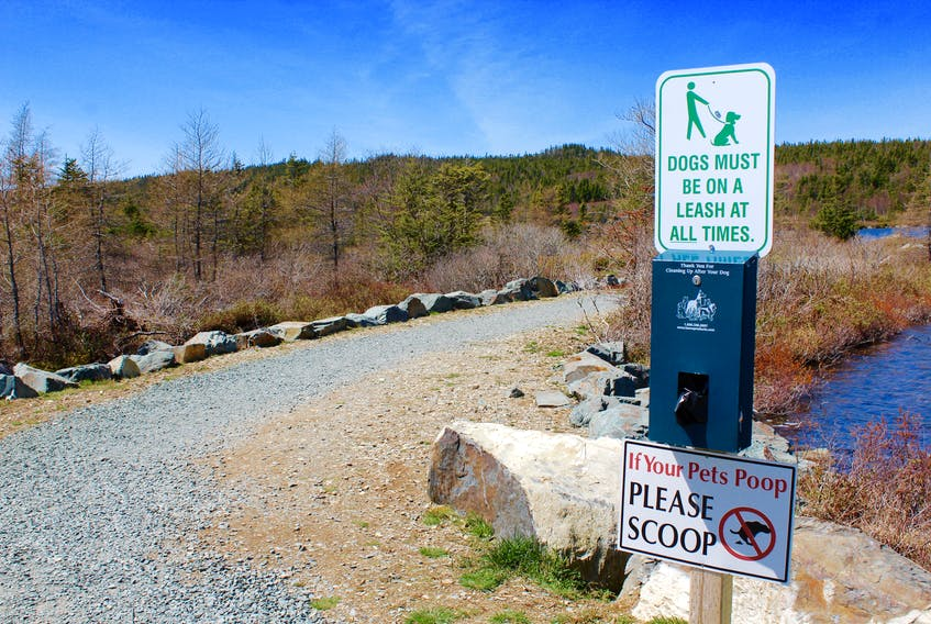 The Shearstown Goose Pond Walking Trail offers walkers free bags to clean up after their dogs, and signs are prevalent to enforce leashing rules.