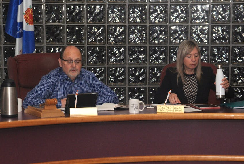 Deputy Mayor Chris O'Grady chaired Tuesday's Carbonear council meeting. Seated next to him is town CAO Cynthia Davis.