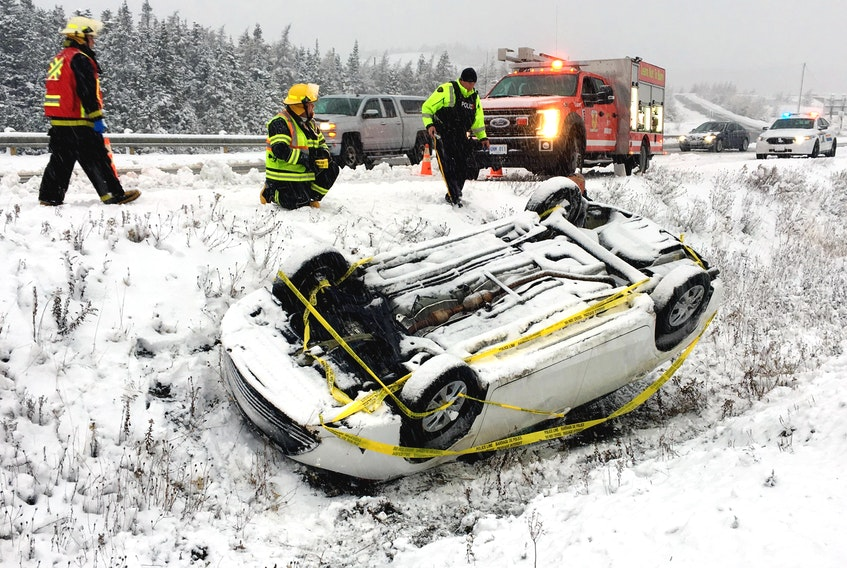 This vehicle rolled over near the Avondale access on the Trans-Canada Highway Saturday afternoon, Nov. 10.