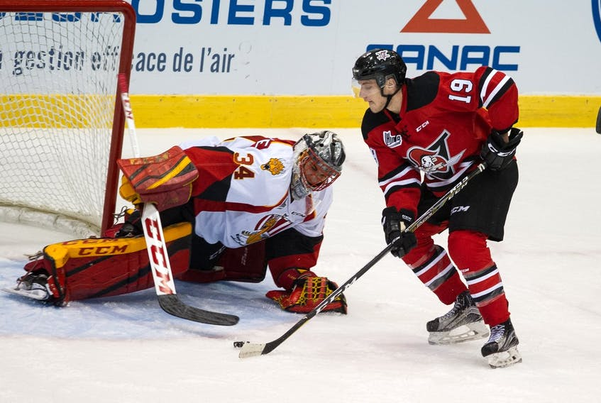 Dawson Mercer, seen here in action with the Drummondville Voltigeurs, is one of 66 Canadian hockey players invited to the World Under-17 Hockey Challenge next month in British Columbia. — Drummondville Voltigeurs Twitter