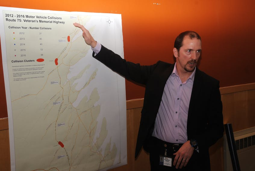 Transportation and Works assistant deputy minister Joe Dunford draws attention to a map highlighting collision locations on Veteran's Memorial Highway from 2012-2016. — Andrew Robinson/The Compass