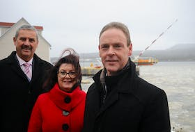The hope is that the Oceans Holyrood Initiative will one day make the Conception Bay community a world leader in the blue economy. Pictured, from the left, are town CAO Gary Corbett, economic development officer Marjorie Gibbons and Mayor Gary Goobie.