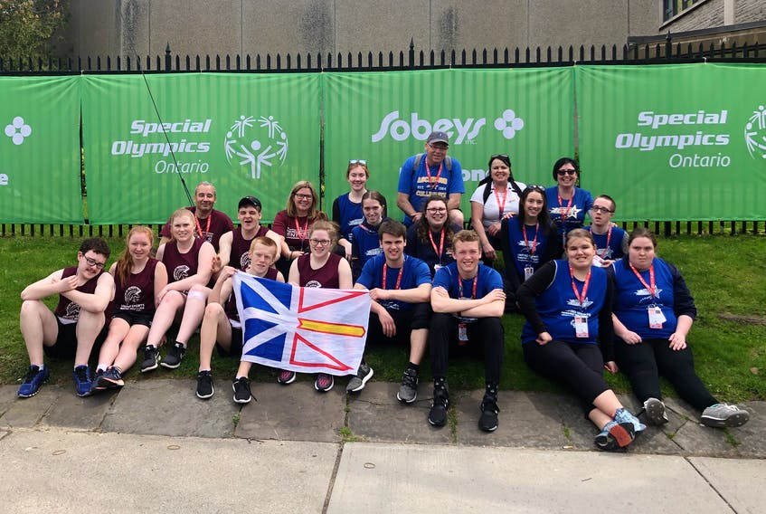 Two high schools from Conception Bay North represented Newfoundland and Labrador at the 2019 Special Olympics Ontario Invitational Youth Games, the first international competition held in Canada focusing on unified sport. Front row, from left, Steven Riddle-Ellsworth and Mackenzie Curran (holding the Newfoundland and Labrador flag), Eric Ardis, Ryan Neil, Rhegan Robinson and Kayleigh Flynn. Second row, Joshua Curran, Hannah Doyle, Ally Cleary, Luke Mullins, Chelsea Parsons, Brittany Anne Hutchings, Jadyn Jacobs and Dawson Crane. Third row, Rodney Hodder, Danielle Doyle, Sarah Lambe, Mark Shortall, Bonnie Parsons and Sonya Lee. Missing from the photo are Jayden Fiddler and Neil Kearley.