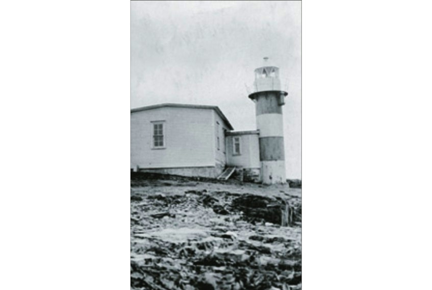 The Green Point Lighthouse at the tip of the Port de Grave Peninsula, as seen in 1922. — Courtesy Canadian Coast Guard