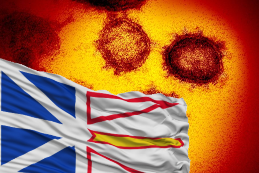 N.L. flag with the COVID-19 virus as a backdrop.
