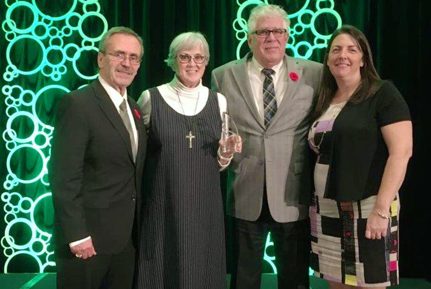 Sister Jovita MacPherson and director of finance Dan Fougere, left, of the Congregation of the Sisters of St. Martha accepted the Institution of the Year honour during the 2019 Divert NS Mobius Awards of Environmental Excellence. Town of Antigonish Councillor Jack 'Sam' MacPherson and Nicole Haverkort, Eastern Region Solid Waste Management regional waste co-ordinator/educator, nominated the congregation for the provincial award. CONTRIBUTED