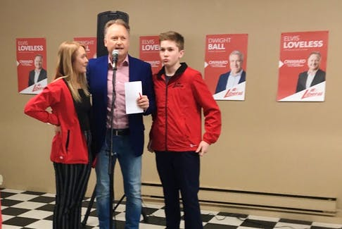 Fortune Bay – Cape la Hune elect Elvis Loveless gives a victory speech with his children, Kaitlyn and Ryan, at his side.