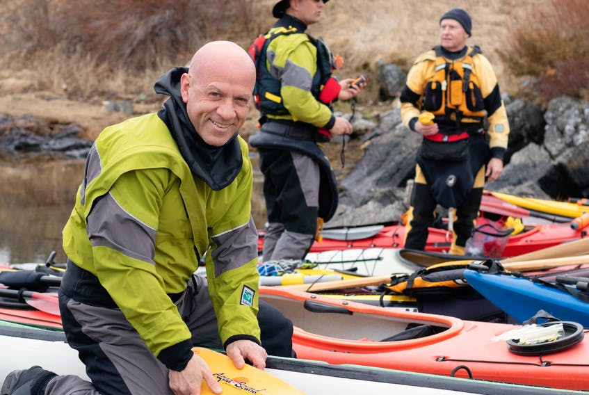 Gander's Barry Hicks is among dozens of kayakers preparing for a trip along the coast toward Salvage as part of the Paddle Newfoundland and Labrador Annual Retreat. Hicks' boat is a 16 ½ foot Eastern Island Makkovic – a fiberglass composite sea kayak manufactured in Twillingate. Megan Frost photo