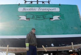 To meet the required maximum length of 39'11, Toogood Arm fisherman Bob Randell is currently cutting off the back of his longliner vessel at the slipway on Twillingate Island. - Kyle Greenham