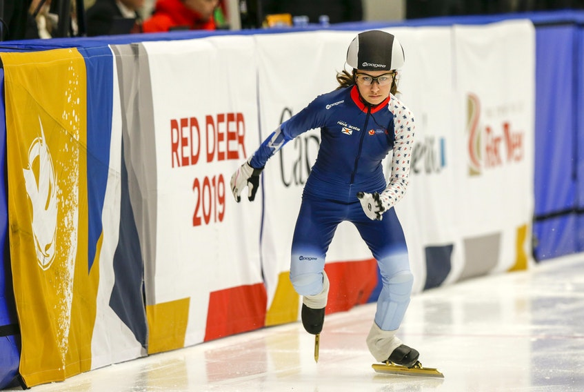 Short track speedskater Lyra Arruda Kyriakidis of Halifax competes Thursday at the Gary W. Harris Canada Games Centre in Red Deer, Alta.