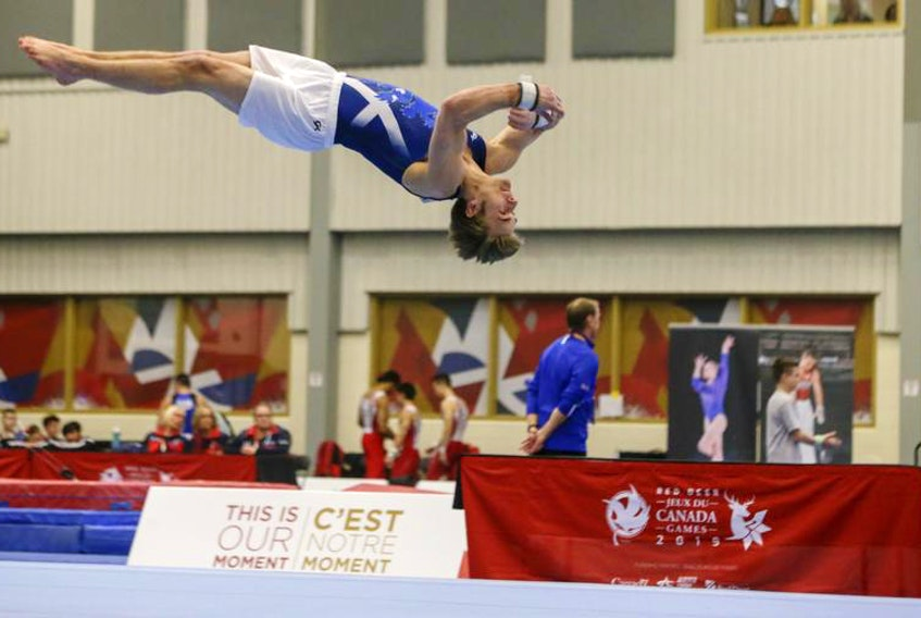 Gymnast Alex Watters of Williamswood, shown in the floor routine during the team final on Monday, placed fifth in the floor in the individual apparatus final on Thursday night in Red Deer, Alta.
