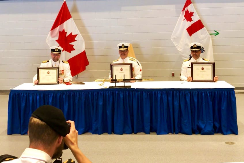 From left: outgoing CFB Halifax base commander, Capt. (Navy) David Mazur; commander of Maritime Forces Atlantic/Joint Task Force Atlantic, Rear-Admiral Brian Santarpia; and incoming CFB Halifax base commander, Capt. (Navy) Sean Williams. - Contributed