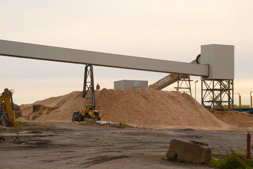 Wood chips are piled up in preparation for burning at Nova Scotia Power's biomass-burning power generating station at Point Tupper.