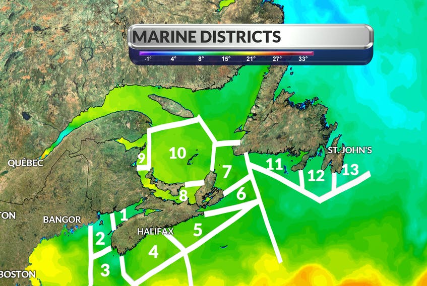 I've created this rough outline of the marine districts that correspond to the daily marine forecasts. The contour colours represent current sea surface temperatures.