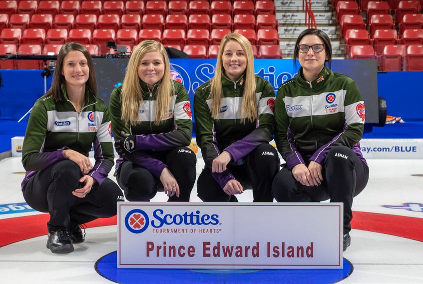 Prince Edward Island is being represented by the Suzanne Birt rink from the Montague Curling Club at this year's Scotties Tournament of Hearts. From left are Birt, vice-skip Marie Christianson, second Meaghan Hughes and lead Michelle McQuaid. Mitch O'Shea is the team's coach. Curling Canada/Andrew Klaver