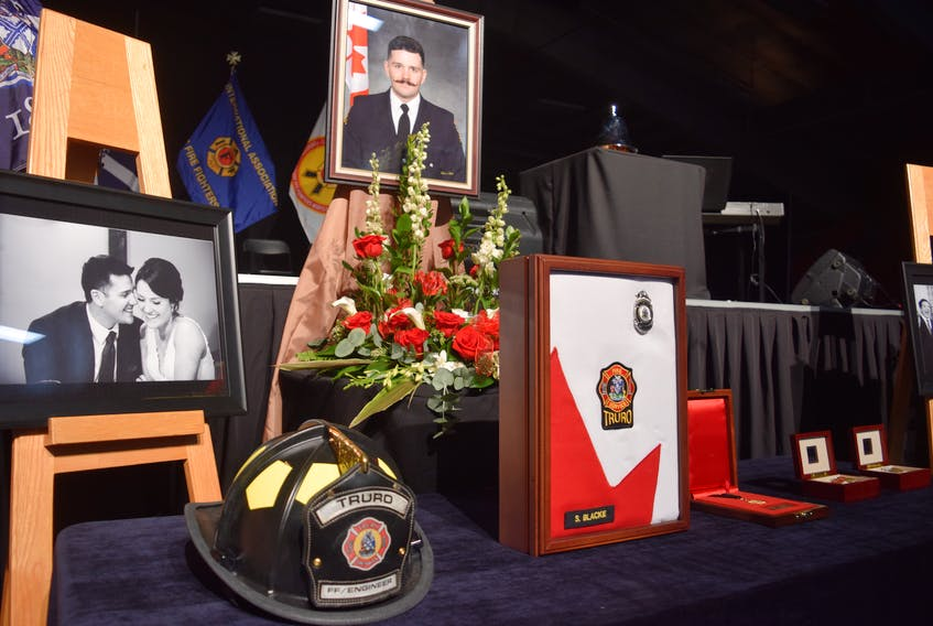 High praise and numerous tributes were paid to fallen Truro firefighter Skyler Blackie during his funeral in Truro on Saturday at the Colchester Legion Stadium. The service was attended by more than 2,500 people including family, friends, firefighters, police and other first responders from as far away as Calgary and Boston.