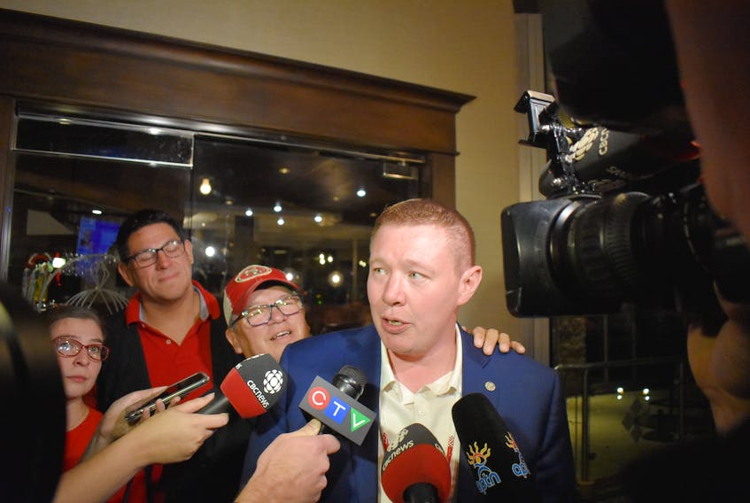 Liberal Jaime Battiste speaks to reporters after being declared the winner in the riding of Sydney-Victoria in Monday's federal election. Battiste received 12,427 votes, while Conservative Eddie Orrell captured 11,078 votes.