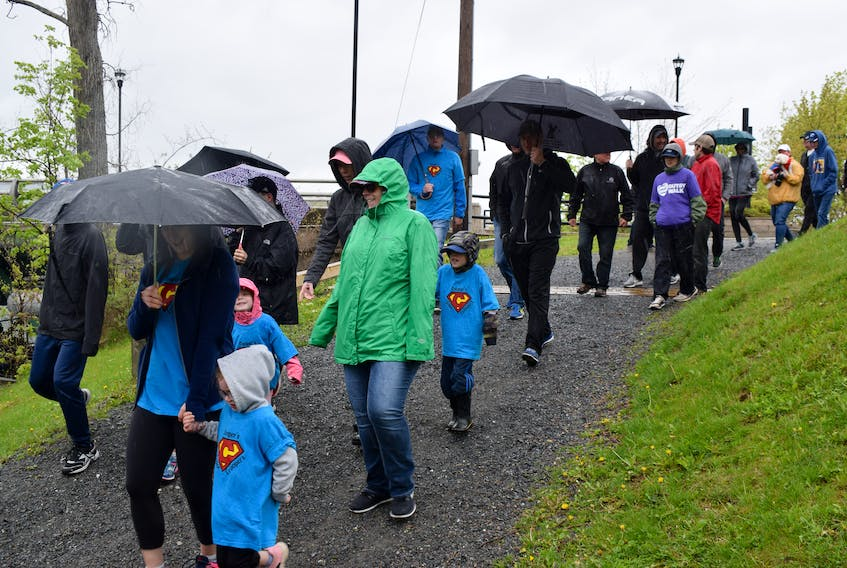 Despite rain, there was a large turnout for this year's Gutsy Walk which was kicked off at Carmichael Park in New Glasgow.