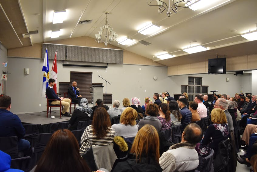 Central Nova MP Sean Fraser and federal Immigration Minister,  Ahmed Hussen spoke to a full room at Summer Street Industries on Saturday, March 2.