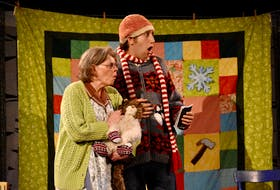 """Mauralea Austin and Logan Robins are shown performing a scene from """"He'd Be Your Mother's Father's Cousin"""" by Mary-Colin Chisholm. The production was Theatre Baddeck's most successful show to date, running from July 5-Aug. 15, 2019."""
