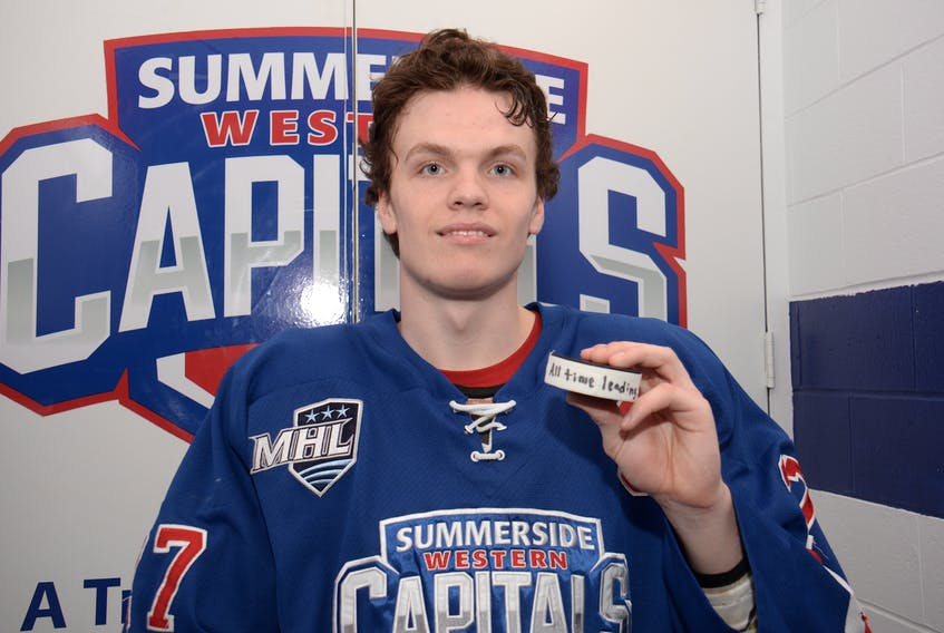 Summerside D. Alex MacDonald Ford Western Capitals' captain Brodie MacArthur is the Maritime Junior Hockey League's new career points leader after drawing an assist Thursday in the final regular season home game of his career.
